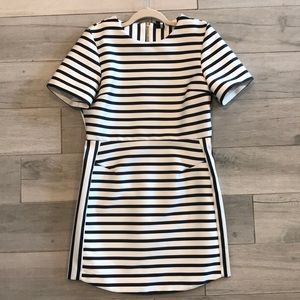 Topshop Black and White Striped Dress